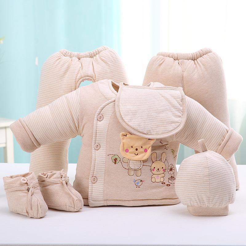 阳光菊 婴儿彩棉棉衣六件套  冬季加厚宝宝棉衣套装