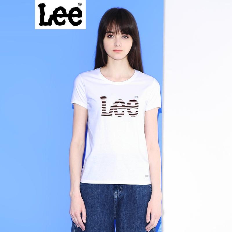 Lee女装商场同款2017夏新品LOGO印花情侣女士短袖T恤L190942ACK14/ K11