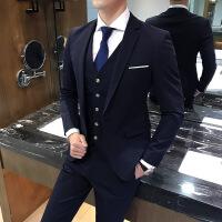 新郎西服套装修身韩版男士休闲秋季西装商务正装伴郎结婚三件套