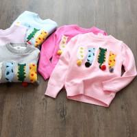 女童加绒针织打底衫秋装新款童装儿童长袖柔软猫咪卡通针织毛衣