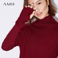 【预估价94元】Amii极简小清新时尚高领打底毛衣女2019春季新款修身弹力纯色上衣