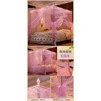 蚊帐不锈钢三开门公主风支架落地宫廷方顶1.2米1.5m1.8m床双人 粉红色 22支架+帐纱