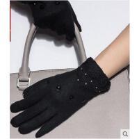 时尚大气触摸屏手套女 韩版蕾丝保暖手套羊毛手套韩版女士 可礼品卡支付
