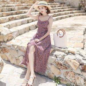 RANJU 然聚2018女装夏季新品新款海边沙滩吊带下摆开叉连衣裙波西米亚度假长裙女