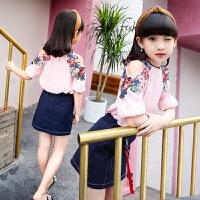 女童套装两件套夏装韩版薄款短袖印花T恤牛仔裤儿童套装中大童