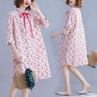 微胖妹妹大码连衣裙洋气减龄显瘦波点中长款衬衫裙女夏季2021新款