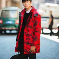 新款冬季男装外套大毛领迷彩防寒服男士羽绒服中长款男韩版潮 红色 M