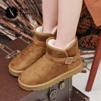 【毅雅】冬季短靴女平底加绒保暖短筒皮带扣简约百搭女靴雪地靴子女YM7WZ7787