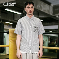 viishow夏装新款短袖衬衫 欧美街头条纹短袖衬衫男 字母短袖