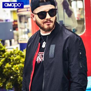 【限时抢购到手价:150元】AMAPO潮牌大码男装秋季胖子加肥加大码棒球服加厚夹克嘻哈男外套
