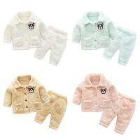 女婴儿衣服套装男宝宝0岁2加绒加厚睡衣套冬装