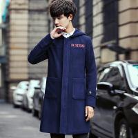 大码风衣男连帽冬装韩版帅气字母印花呢大衣潮中长款加厚毛呢外套