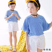 韩国女童休闲套装夏装韩版儿童小清新蓝色条纹短袖棉麻短裤两件套