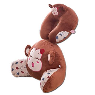 可爱猴子办公室靠垫卡通汽车腰枕大号椅子护腰靠枕靠背垫床头抱枕
