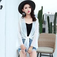 白色雪纺开衫女薄款短款外搭夏季宽松空调衫百搭小披肩外套防晒衣