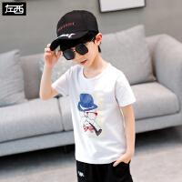 【品牌秒杀价:9.9】左西男童夏装t恤短袖2020新款儿童上衣中大童白色卡通洋气韩版潮