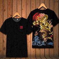 中国风复古中国龙图腾印花短袖T恤个性男装原创2018潮体恤 026