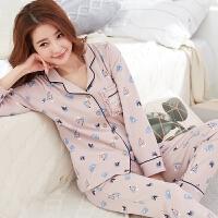 春秋季女士睡衣女长袖纯棉薄款加大码中年妈妈套装家居服