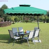 户外桌椅庭院阳台桌椅组合露天休闲桌椅伞套装铁艺咖啡茶几三件套