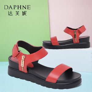 Daphne/达芙妮时尚挂饰平底坡跟舒适女凉鞋-