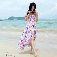 女装2018夏微胖mm吊带长裙波西米亚长裙海边度假沙滩裙