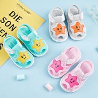 婴儿叫叫鞋0-1-2岁宝宝布凉鞋软底学步鞋女