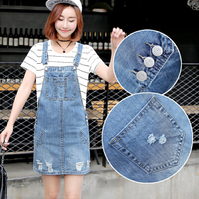 春装新款韩版女装显瘦高腰套头无袖做旧破洞牛仔背带裙连衣裙
