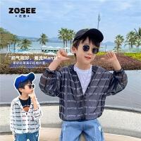 【2件2折】左西童装男童外套夏季儿童连帽上衣薄款透气中大童夏装2021新款潮
