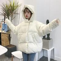 冬季女装韩版宽松连帽短款学生加厚棉衣外套保暖棉袄面包服潮 杏色 均码