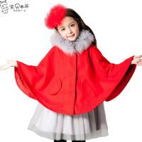 童装2017冬季新款女童毛领斗篷儿童披肩呢大衣中大童披风外套
