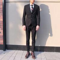 西装男套装薄款韩版修身英伦风男士西服毕业正装 黑色