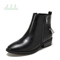 shoebox鞋柜冬杜拉拉加绒内里短靴女侧拉链中跟鞋