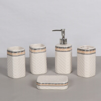 欧式陶瓷卫浴五件套洗漱套装浴室用品洗手液瓶肥皂碟牙刷架漱口杯 427