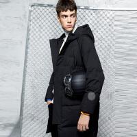 【2件2.5折】唐狮冬装新款羽绒服男中长款字母印花青年韩版加厚黑色外套潮