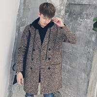毛呢大衣男中长款加厚韩版青年呢子风衣英伦冬季宽松妮子外套潮流