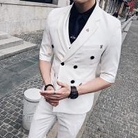 七分袖西服男韩版修身新郎结婚中袖西装九分裤双排扣伴郎三件套装
