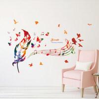 可移除墙贴纸贴画客厅教室墙壁装饰品彩色羽毛音乐音符五线谱墙贴