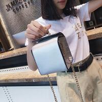 新款简约纯色盒子包单肩斜跨包休闲时尚迷你小包包