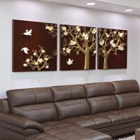 沙发背景墙装饰画客厅现代简约壁画挂画创意三联无框浮雕画幸福树 70*70*3片 整套三幅价格 25mm厚板+立体