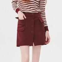 红袖/HOPESHOW单排扣大贴袋A字短裙