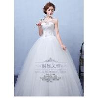 婚纱礼服时尚新款齐地绑带婚纱显瘦修身大码蕾丝韩式宫廷结婚 白色 X