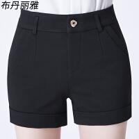 短裤女秋冬高腰大码休闲裤中年妈妈女裤女士外穿黑色短裤靴裤子厚 黑色