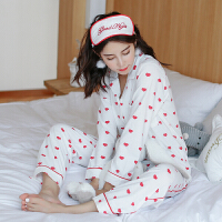 春秋季月子服纯棉产后哺乳睡衣产妇秋冬孕妇家居服开衫喂奶衣套装 白色桃心