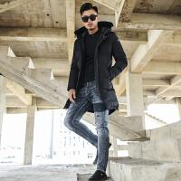 男冬季中长款立领韩版修身新款棉衣户外休闲社会小伙帅气大衣
