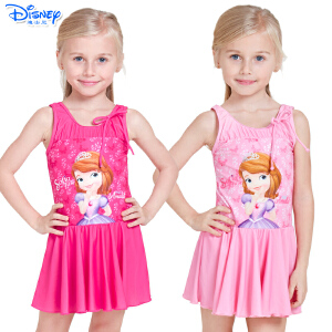 迪士尼冰雪奇缘苏菲亚公主儿童泳衣女童裙式泳衣分体游泳衣泳装