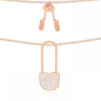 【网易考拉】【18年新款】apm MONACO 粉金色纯银镶晶钻别针项链