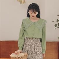 【书香节 到手价:135.2元】娃娃领蕾丝雪纺衫2020年春季新款女韩版宽松打底长袖复古上衣小衫