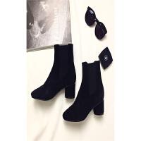 秋冬欧美高档女靴里外真皮时尚粗跟中跟圆跟短靴弹力包脚显瘦 黑色