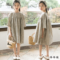 韩国童装2018夏装新款韩版女童短袖森系格子公主裙中大儿童连衣裙