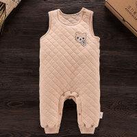 活力熊仔 儿童服装秋冬婴幼儿天然彩棉加厚保暖无袖连体哈衣 宝宝背心连身衣